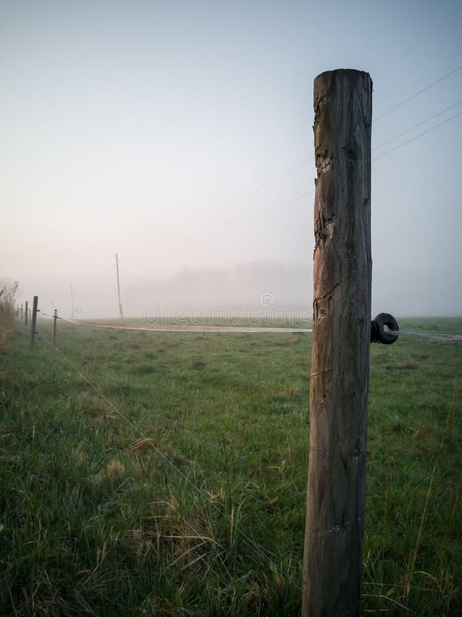 Arbre Polonais de barrière électrique dans un début de la matinée sans compter que le pays photographie stock