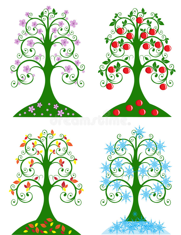 Arbre quatre saisonnier illustration stock
