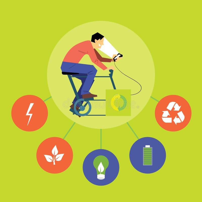 arbre renouvelable de feu vert de fleur d'énergie de concept d'ampoule Homme avec le générateur illustration stock