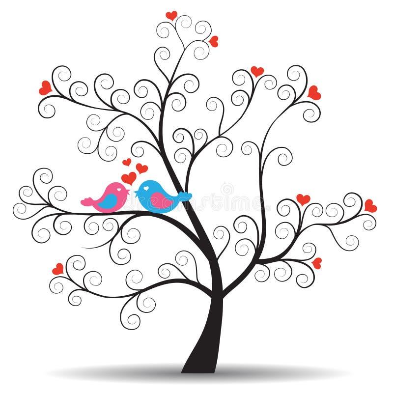 Arbre romantique avec des oiseaux de couples d'inlove illustration stock