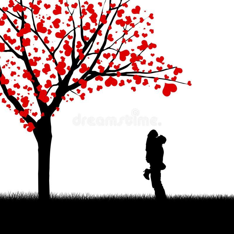 Arbre romantique de couples et d'amour illustration de vecteur