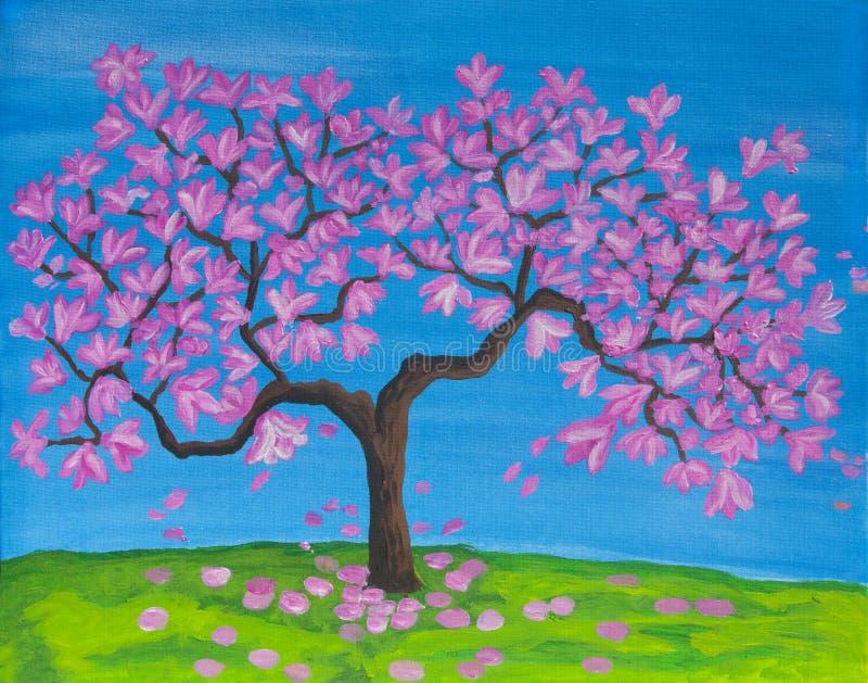 Arbre rose de magnolia dans la fleur, peinture acrylique photo stock