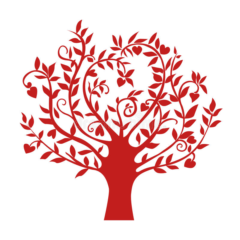Arbre rouge abstrait de coeur, symbole d'isolement de nature, signe de silhouette illustration libre de droits