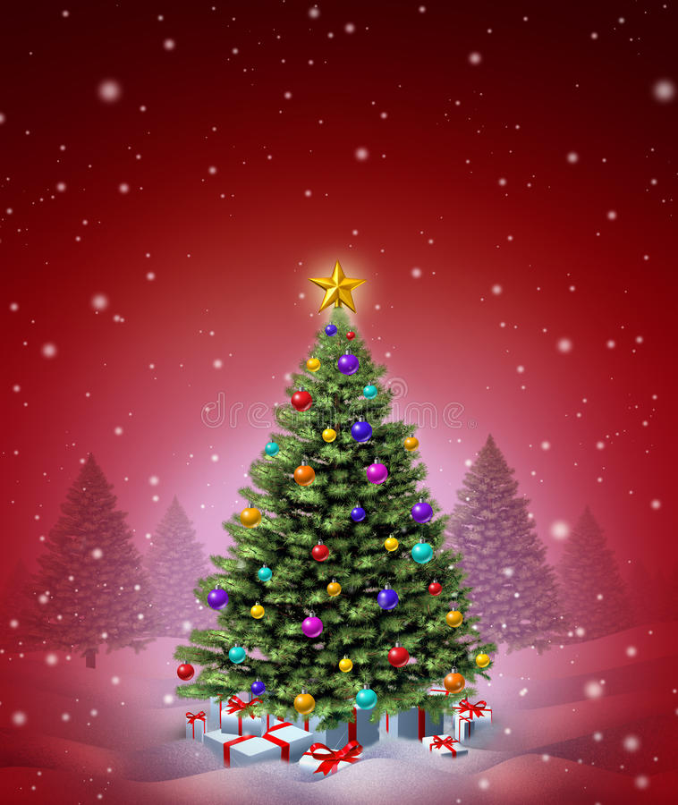 Arbre rouge de l'hiver de Noël illustration stock