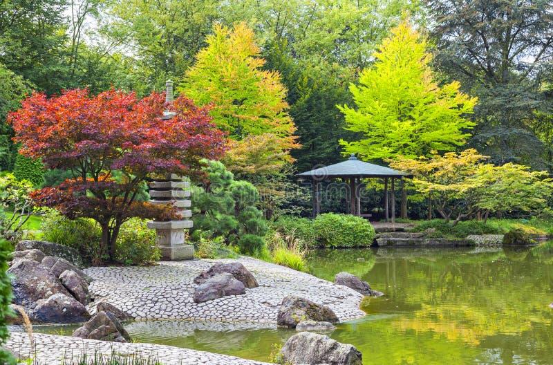 Arbre rouge pr s de l 39 tang vert dans le jardin japonais for Arbre exterieur jardin