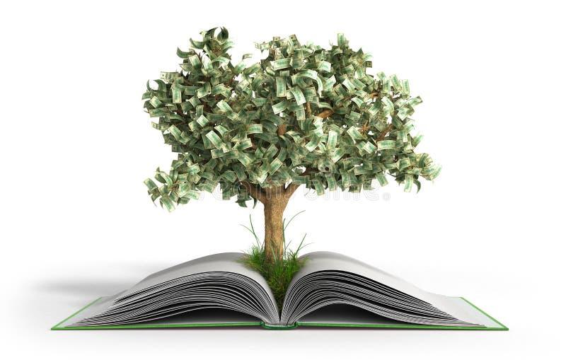 Arbre s'élevant du grand livre ouvert du livre A avec des pièces de monnaie et arbre Readi illustration libre de droits