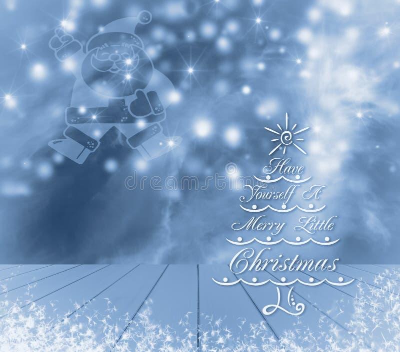 Arbre, Santa et neige de Noël sur le fond bleu Prêt à servir en bois vide bleu pour votre montage d'affichage de produit illustration libre de droits