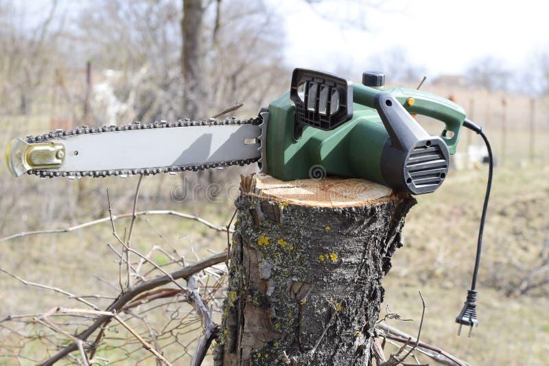 arbre sciant électrique scié photographie stock