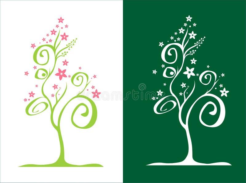 Arbre stylisé/avec des fleurs/vecteur illustration de vecteur
