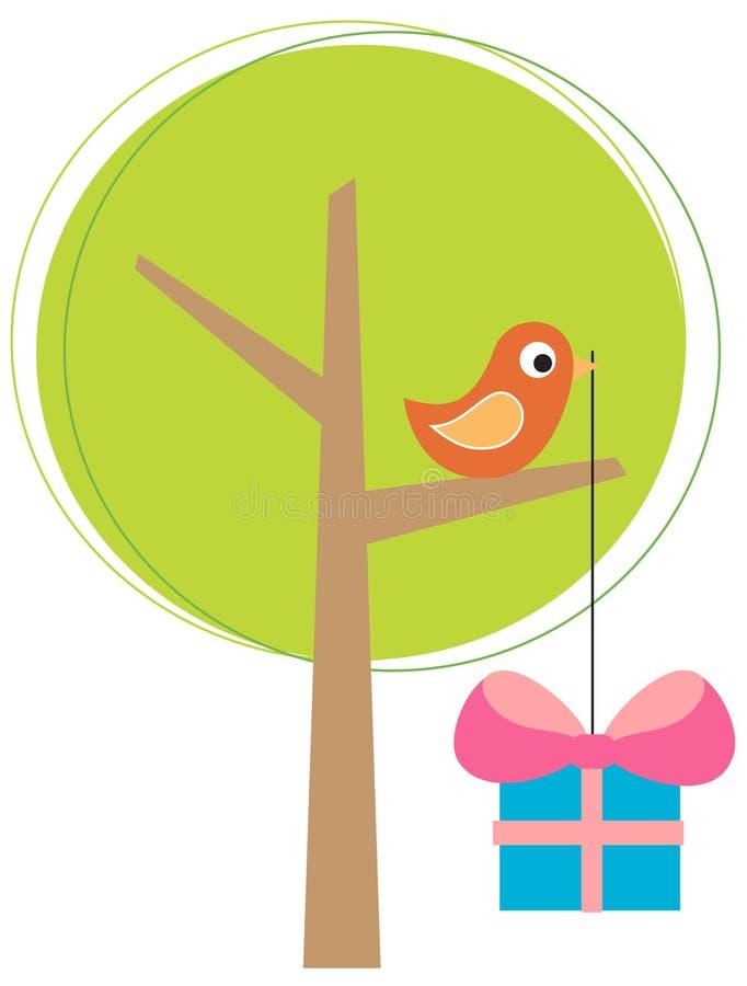 Arbre stylisé avec un oiseau illustration de vecteur