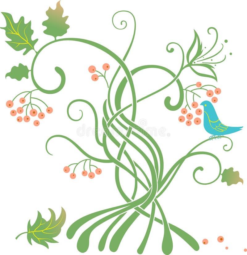 Arbre stylisé avec un oiseau mangeant des baies illustration libre de droits