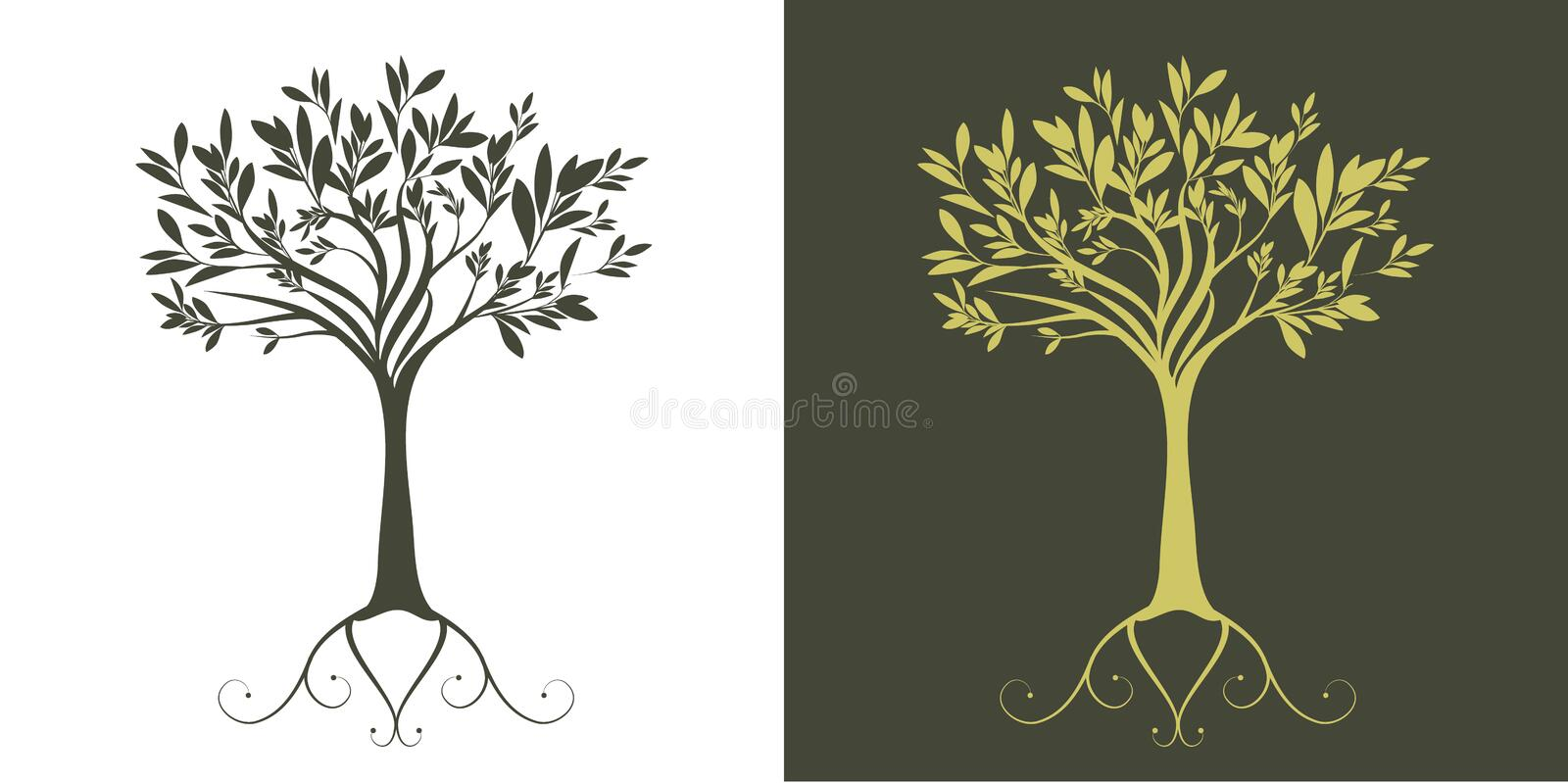 Arbre stylisé d'illustration de silhouette sur le fond blanc illustration stock