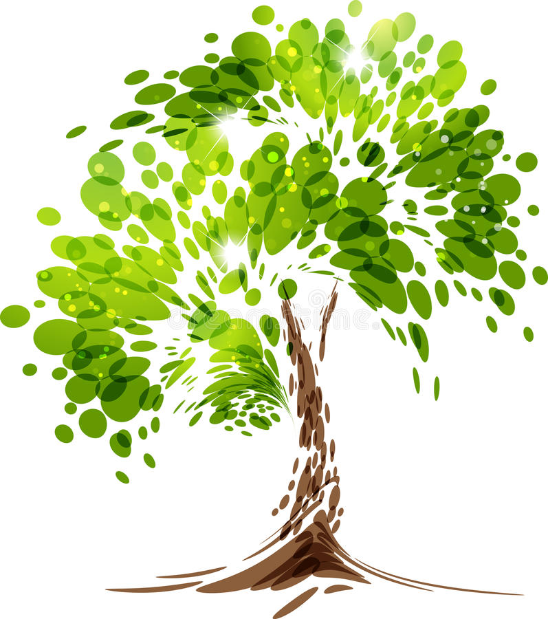 Arbre stylisé de vecteur de vert illustration libre de droits