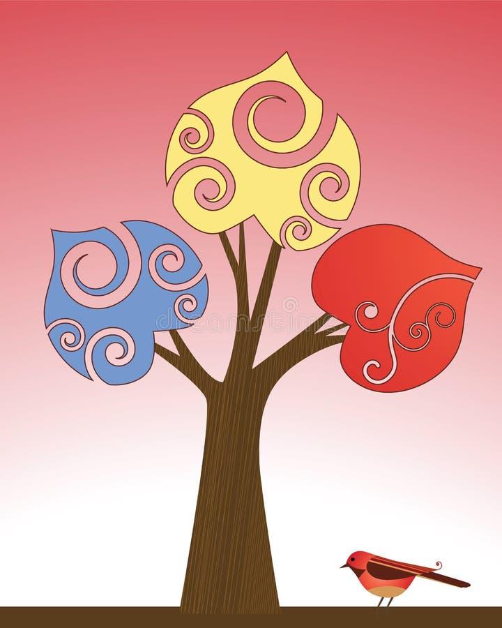 Arbre stylisé génial avec l'oiseau illustration libre de droits