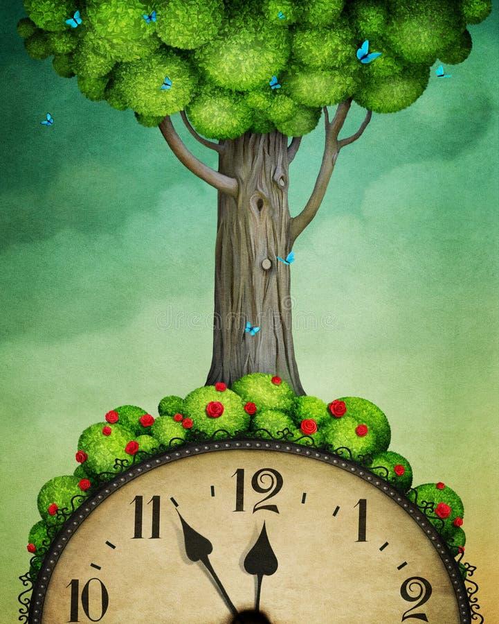 Arbre sur l'horloge illustration de vecteur
