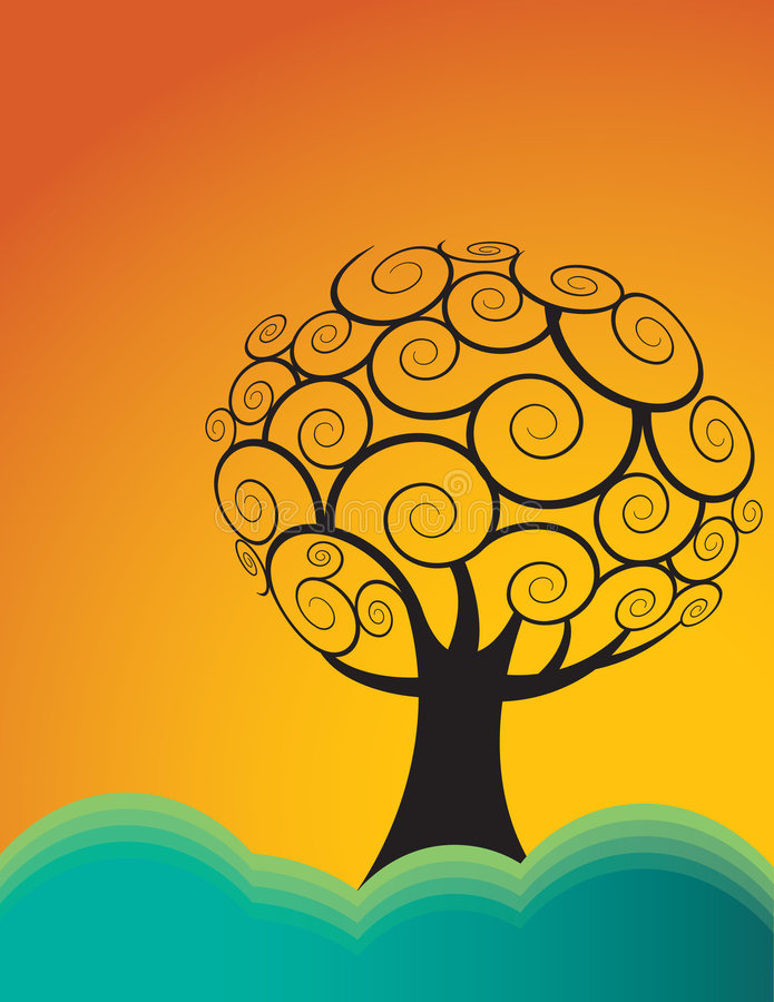 Arbre sur le fond orange illustration stock