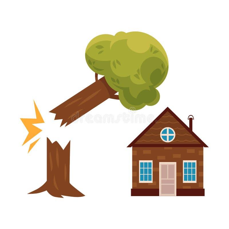 Arbre tombant sur la maison, icône d'assurance des biens illustration de vecteur