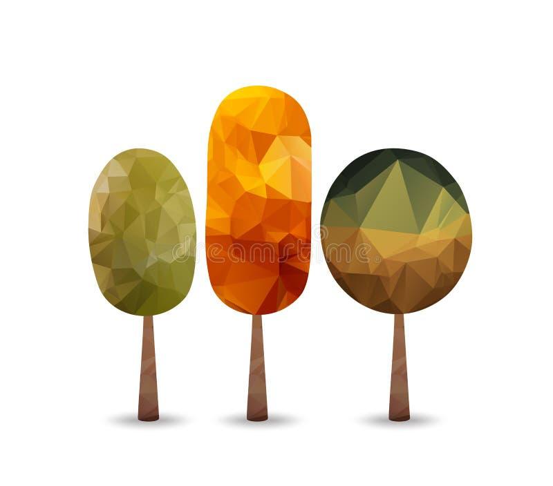 Arbre triangulaire de style, fond d'automne illustration de vecteur