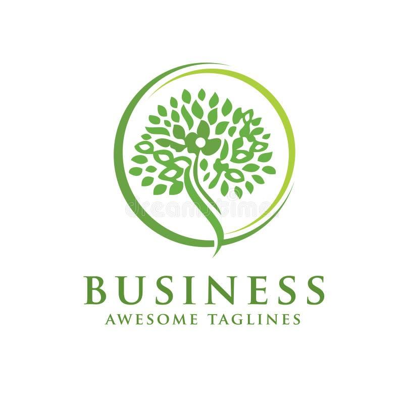 Arbre vert avec le logo de feuilles cercle de fines herbes de feuille illustration libre de droits