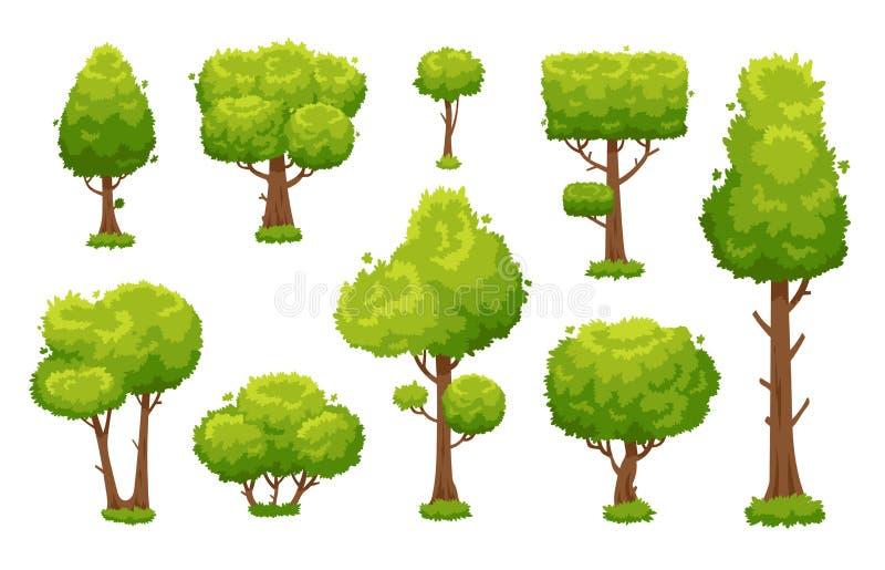 Arbre vert de bande dessinée Arbres environnementaux de forêt ou de parc d'isolement pour le fond d'illustration de vecteur illustration de vecteur