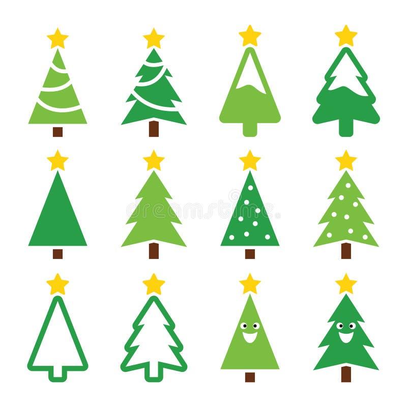 Arbre vert de Noël avec des icônes d'étoile réglées illustration de vecteur