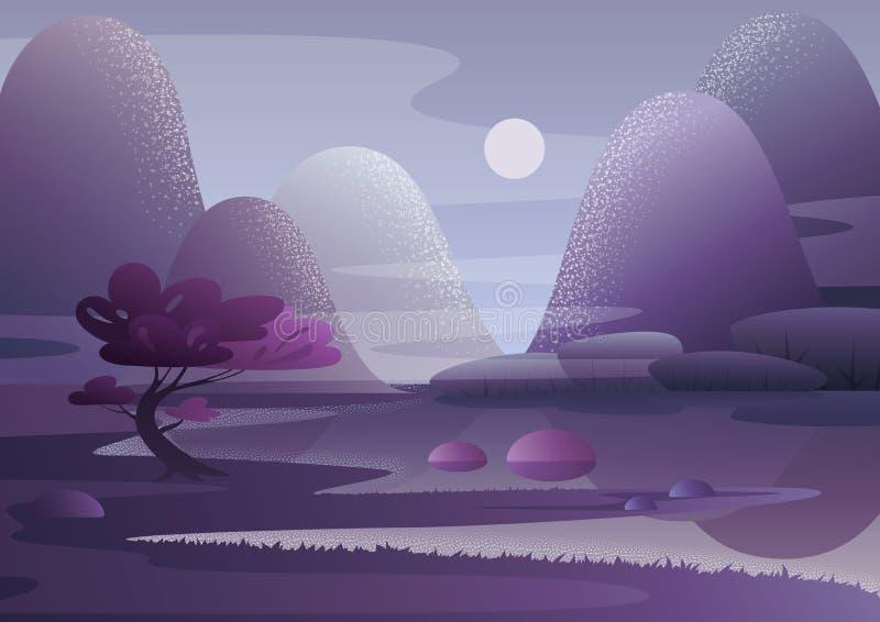 Arbre violet s'élevant sur le rivage du lac de bouillonnement contre les collines et le ciel de soirée avec la lune Vecteur de pa illustration libre de droits