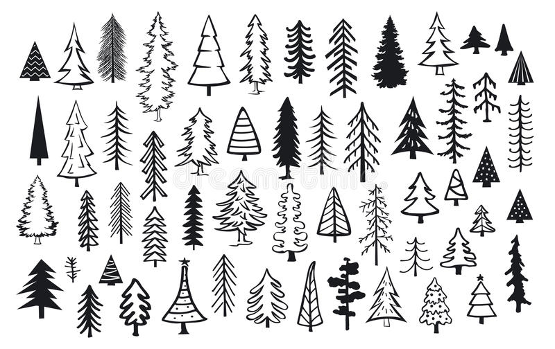 Arbres abstraits mignons d'aiguille de Noël de sapin de pin de conifère illustration stock
