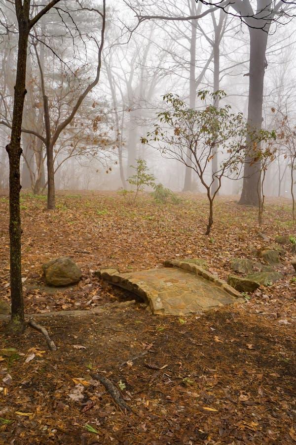 Arbres brumeux et passerelle en pierre dans Ridge Mountains bleu photos libres de droits