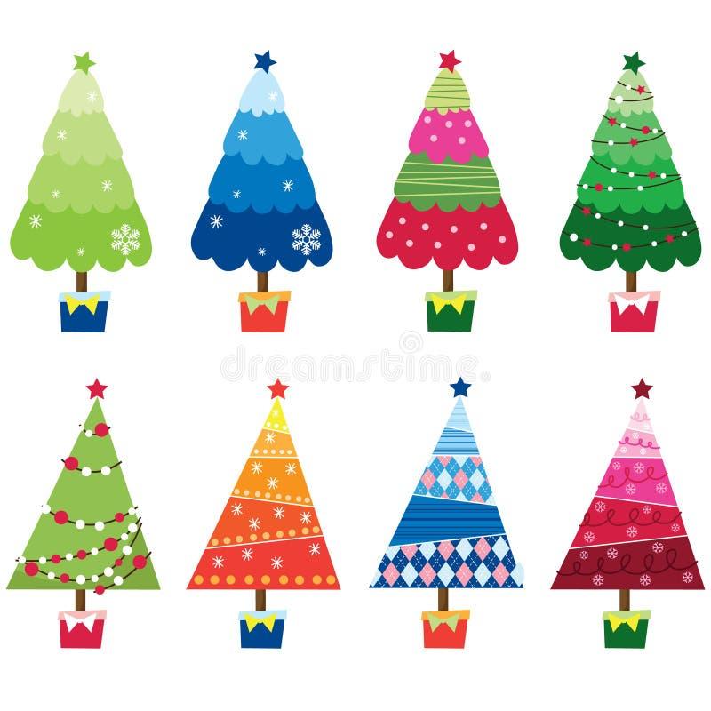 arbres colorés de Noël illustration de vecteur