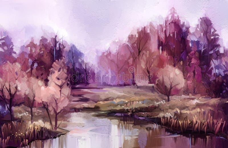 Arbres color?s d'automne de peinture ? l'huile Image de couleur de peinture de cru du paysage, forêt avec la feuille et le lac ja illustration libre de droits