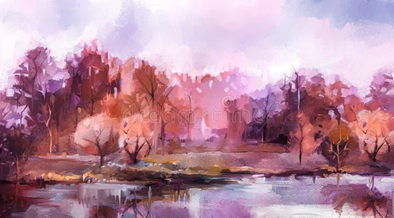 Arbres color?s d'automne de peinture ? l'huile Image de couleur de peinture de cru du paysage, forêt avec la feuille et le lac ja illustration de vecteur