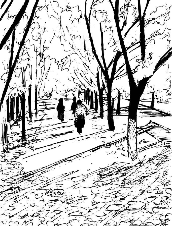 Arbres d'automne de vecteur avec de longues ombres et les gens marchant par illustration de vecteur