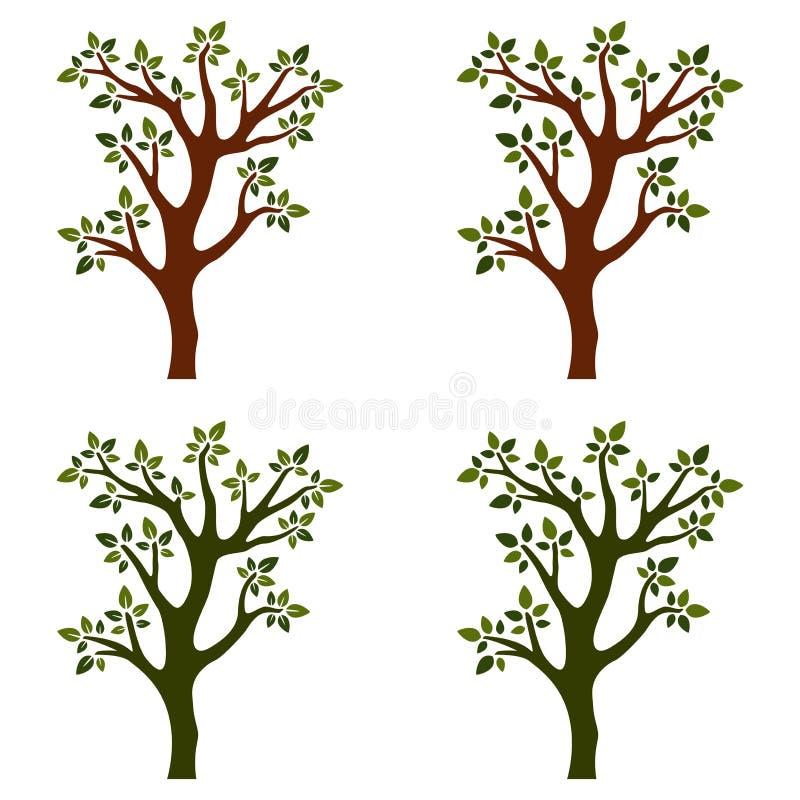Arbres d'isolement avec des branches sur le fond blanc illustration libre de droits