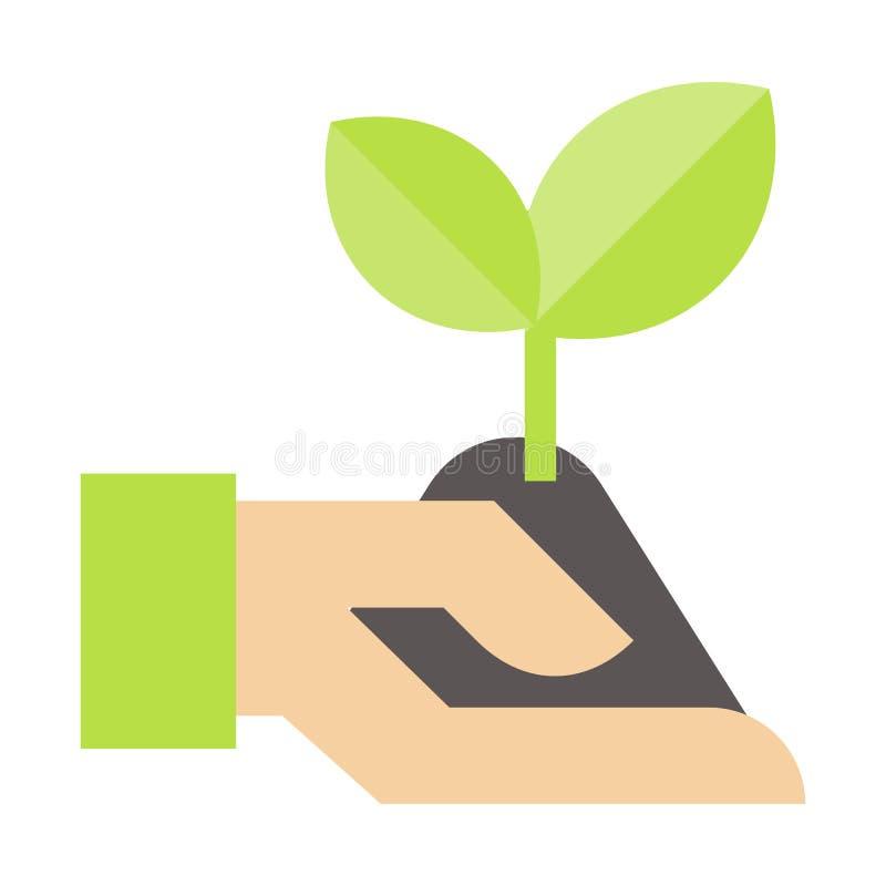 Arbres d'usine Arbre prélevant en main l'icône Le vecteur coloré par illustration plate a isolé des icônes d'Eco nettoient l'éner illustration libre de droits