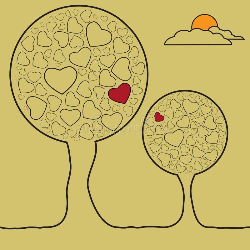 Arbres dans l'amour image libre de droits