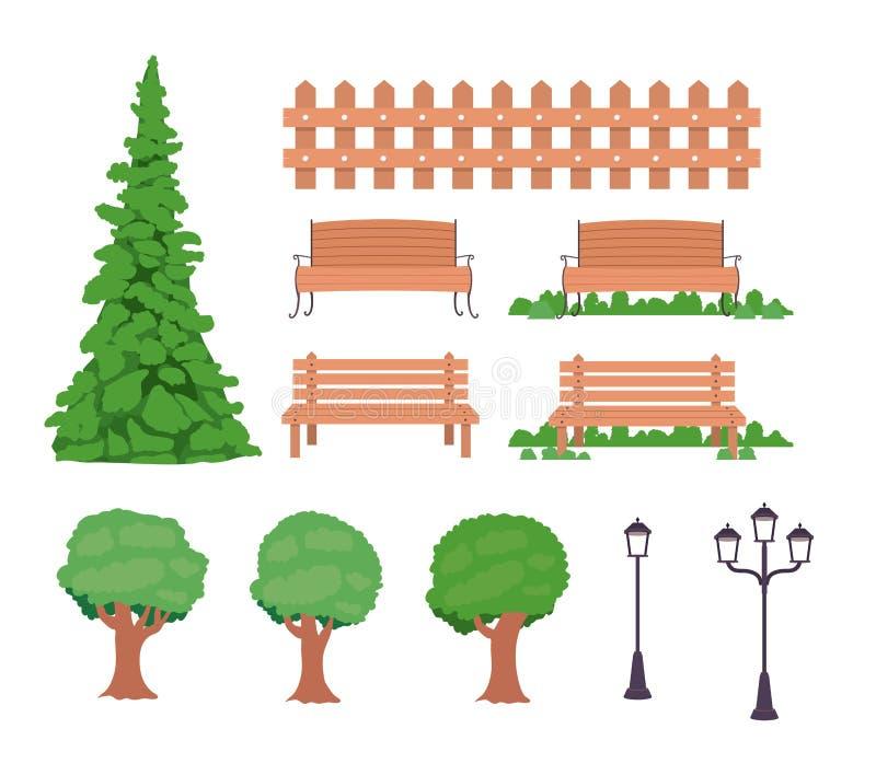 Arbres de barrière de banc et icônes de lampes illustration stock