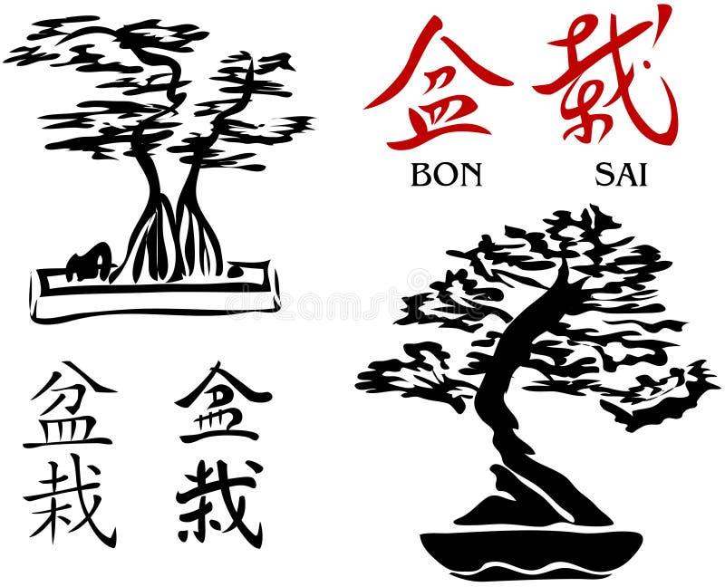 Arbres de bonzaies et caractères de kanji 2 [vecteur] illustration stock