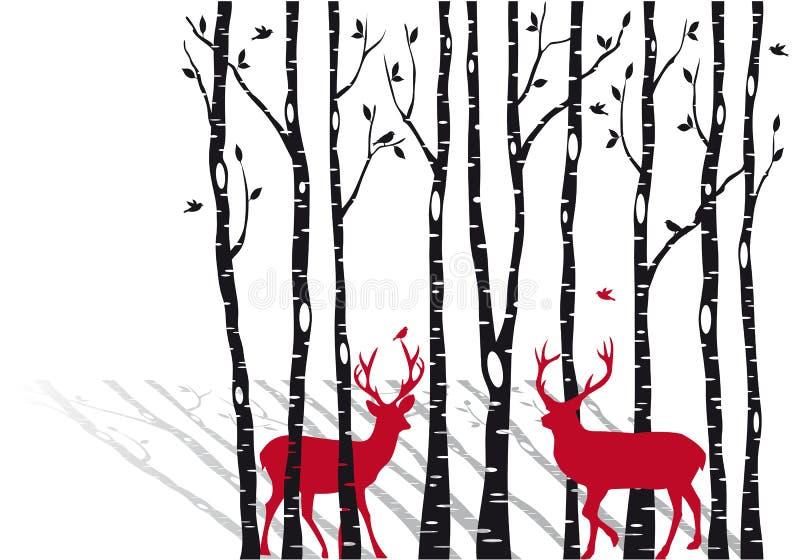 Arbres de bouleau avec des deers de Noël, vecteur illustration stock