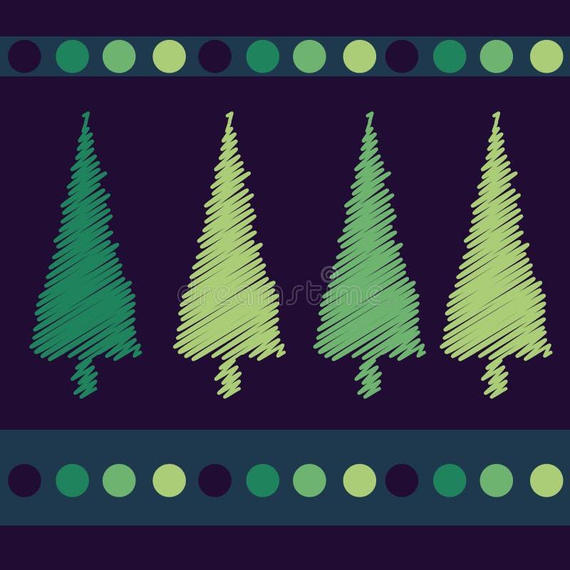 arbres de conception de Noël de carte illustration de vecteur