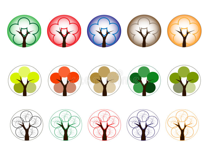 Download Arbres De Différentes Couleurs Illustration de Vecteur - Illustration du horizontal, accroissement: 76078582
