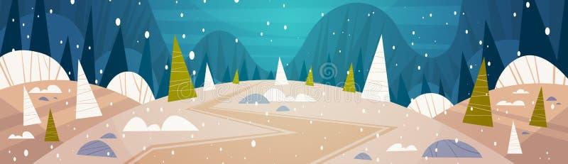 Arbres de Forest Landscape Moon Shining Over Milou d'hiver, Joyeux Noël et concept de vacances de bannière de bonne année illustration de vecteur