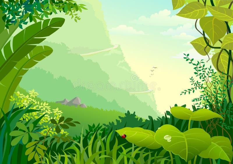 Arbres de jungle d'Amazone et végétation dense illustration stock