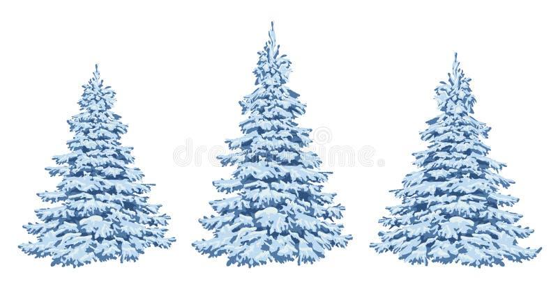 Arbres de l'hiver dans la neige Un ensemble pour la conception et le decorat de Noël illustration libre de droits