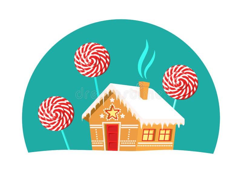Arbres de maison et de lucette de pain d'épice autour de lui Noël, nouvelle année, carte de vacances d'hiver illustration libre de droits