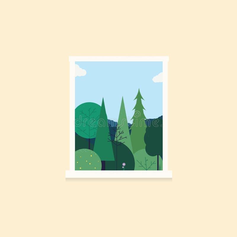 Arbres de nature et fenêtre de trought de ciel illustration libre de droits