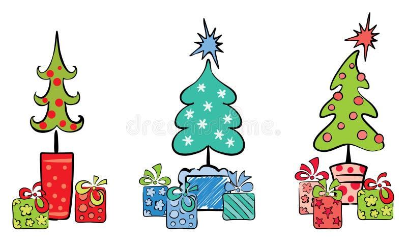 Arbres de Noël avec des cadeaux illustration de vecteur