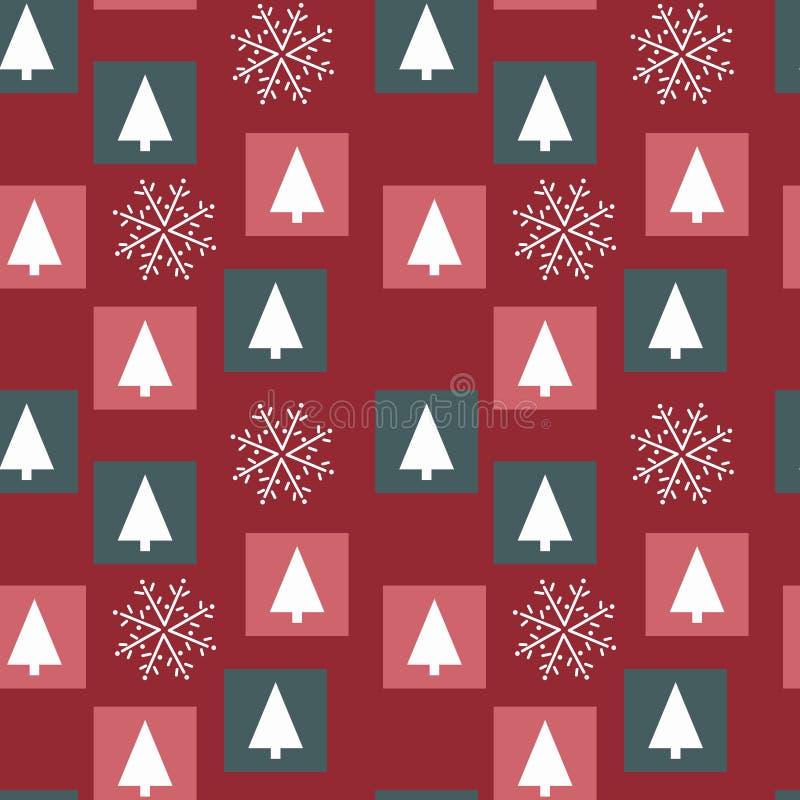 Arbres de Noël blancs et dessins à la main flocons de neige fond rouge, carrés colorés, couleurs de Noël illustration de vecteur