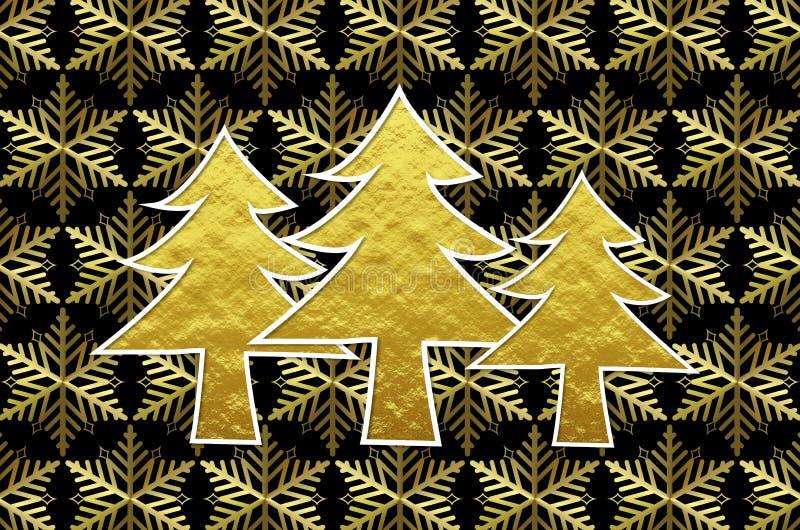 Arbres de Noël d'or avec le fond d'or de cristaux de glace images stock