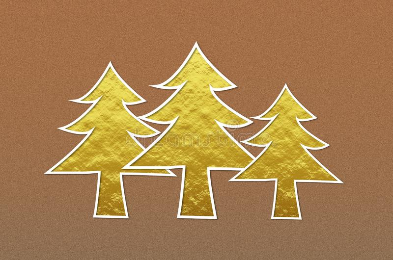 Arbres de Noël d'or sur le fond métallique brun de scintillement images libres de droits