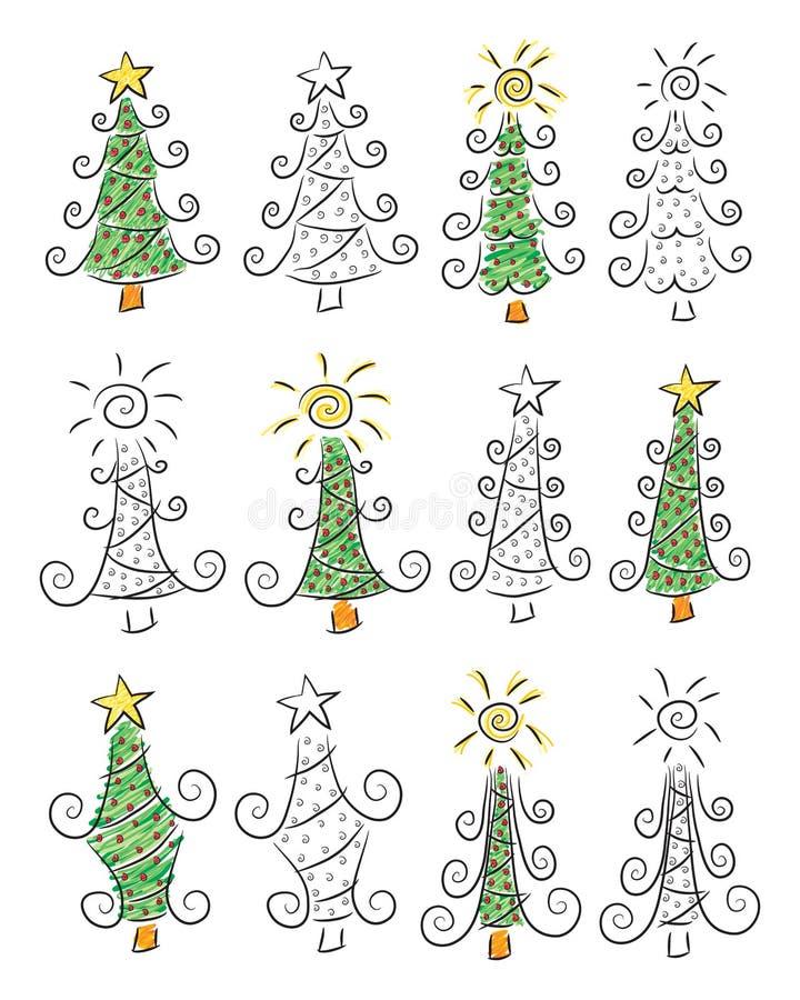 Arbres de Noël de griffonnage illustration de vecteur